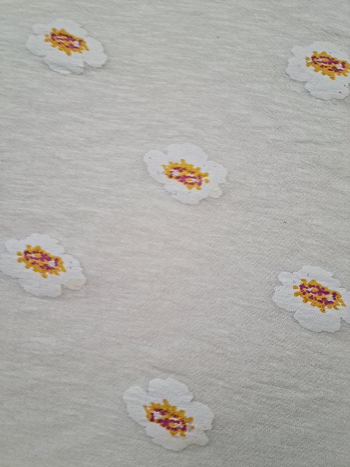 Painted Flower Cotton Mix Sweatshirting