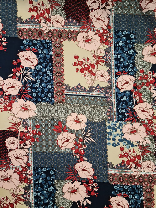 Patchwork Floral Rayon Blue