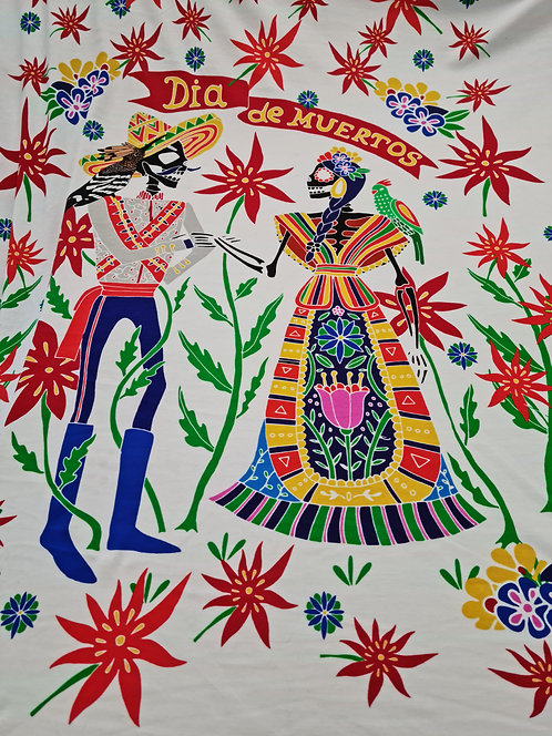 Dia De Muertos Viscose Knit Panel
