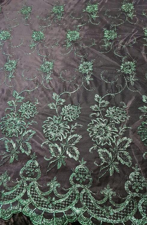 Designer Prints Metallic Embroidered Tulle Emerald