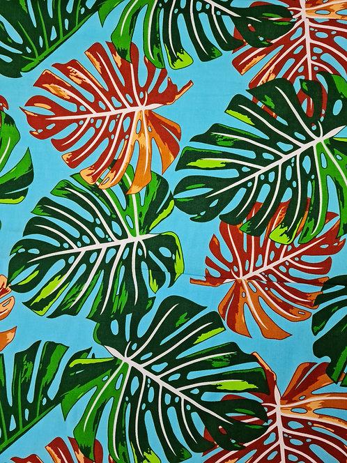 Fruit Salad Leaf Rayon Print Turquoise