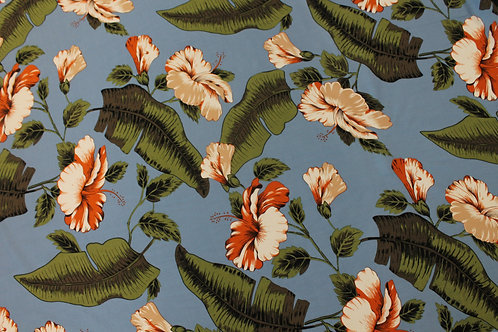 Blue Tropical Floral Print