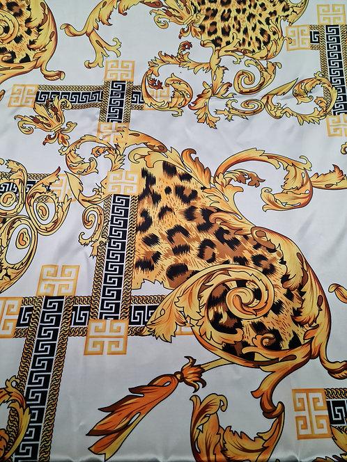Baroque Polyester Satin Print White/Gold