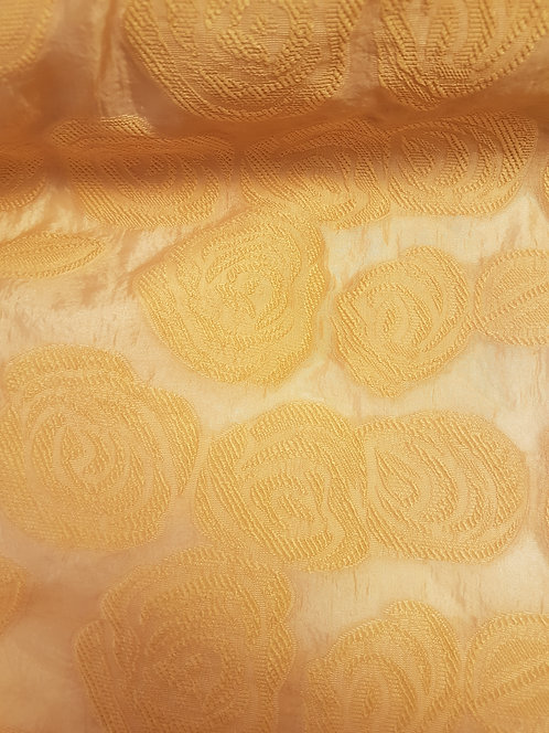 Rose Embossed Burnout Organza Mustard