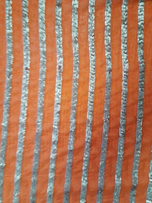 Fine Sequin Stripe on Georgette