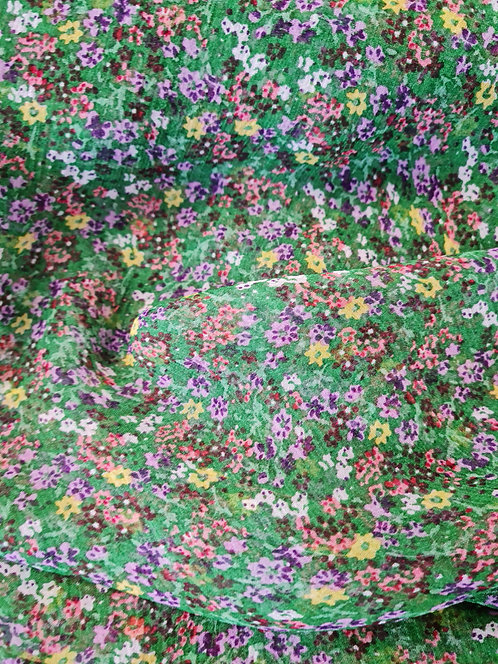 Sweet Floral Crinkle Silk Chiffon