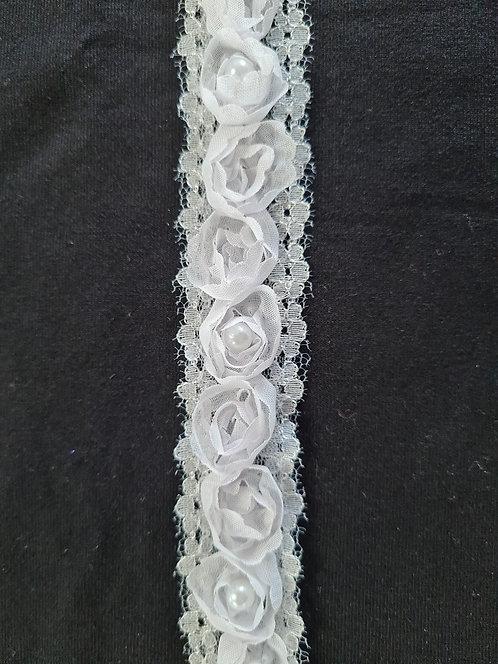 Rose & Pearl Lace Trim White