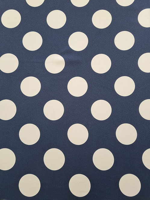 Large Spot Drapey Crepe Off White/Navy