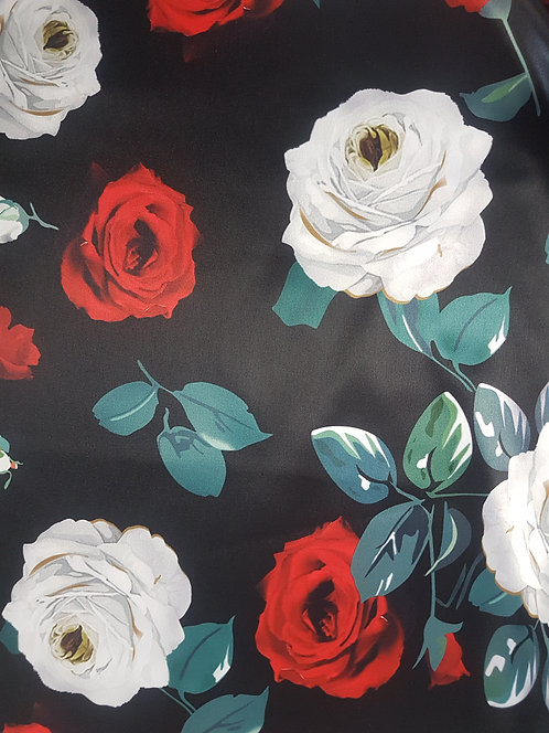 Floating Roses Polyester Sateen