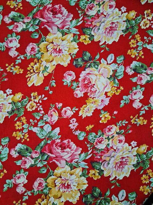 Old World Rose Cotton Poplin Red