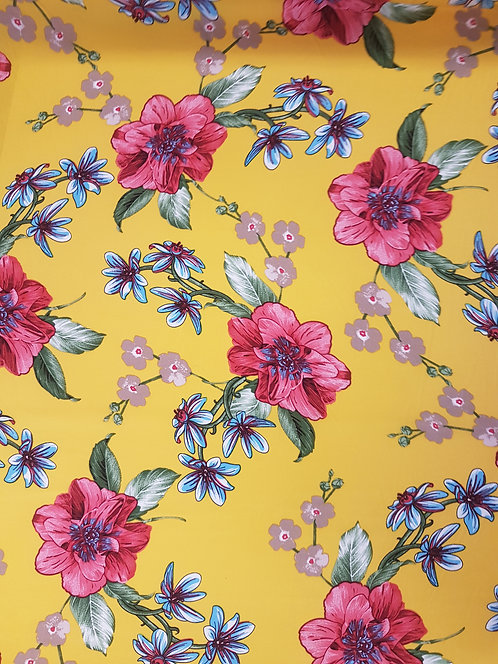 Open Rose Floral Rayon Yellow