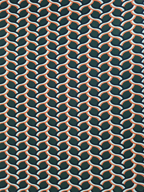 Braided Polyester Crepe De Chine Olive & Orange