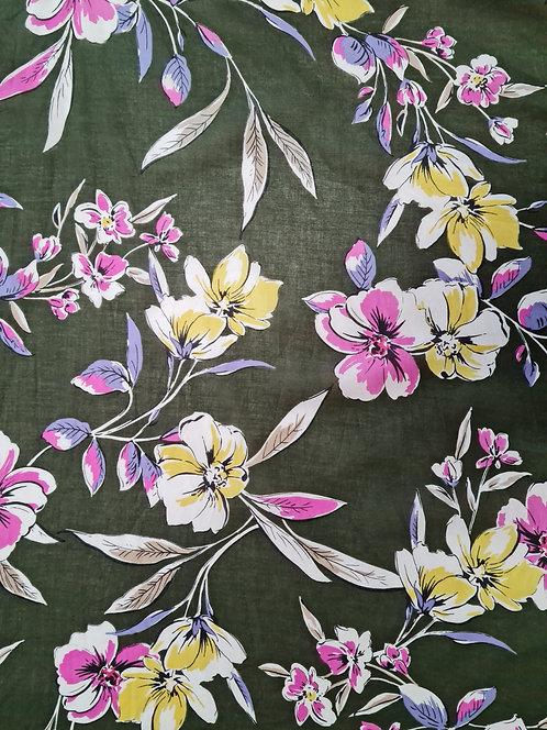 Olive Grove Floral Cotton Voile