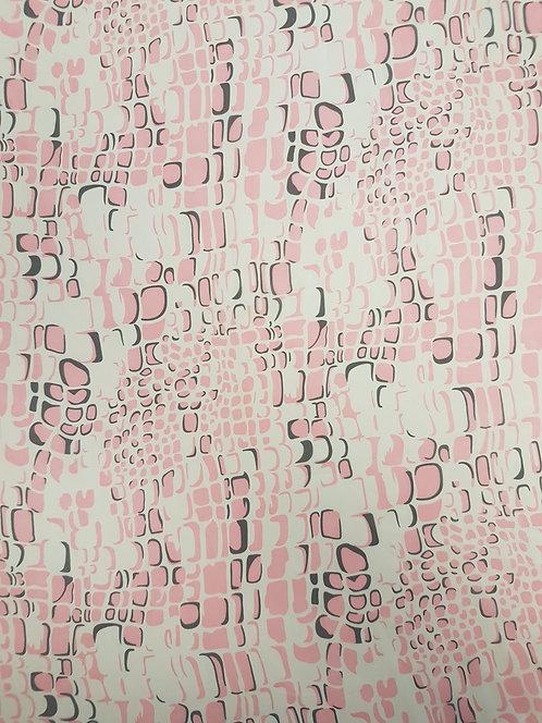 Crocodile Print Polyester Chiffon Pink