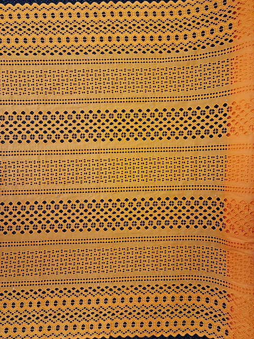 Broderie Anglaise Double Scallop Cotton Marigold