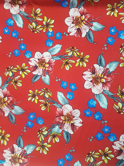 Open Rose Floral Rayon Red