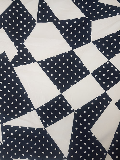 Geometric Spot Cotton Poplin..White/Navy