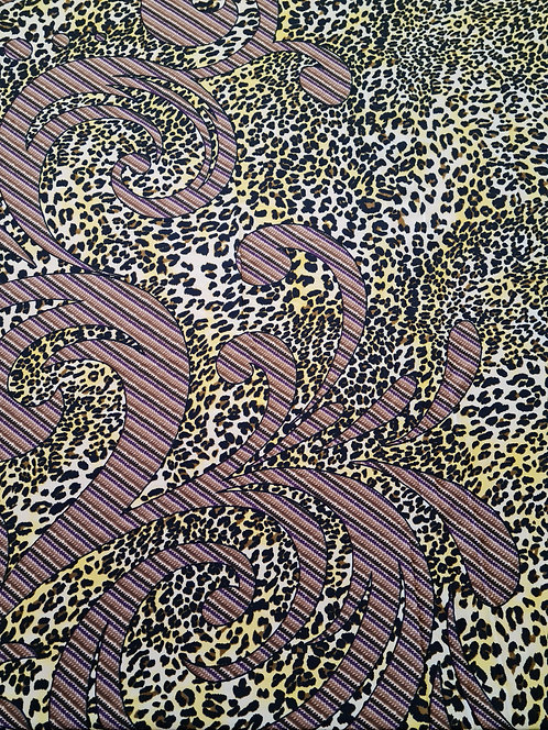 Leopard in Paradise Polyester Crepe de Chine