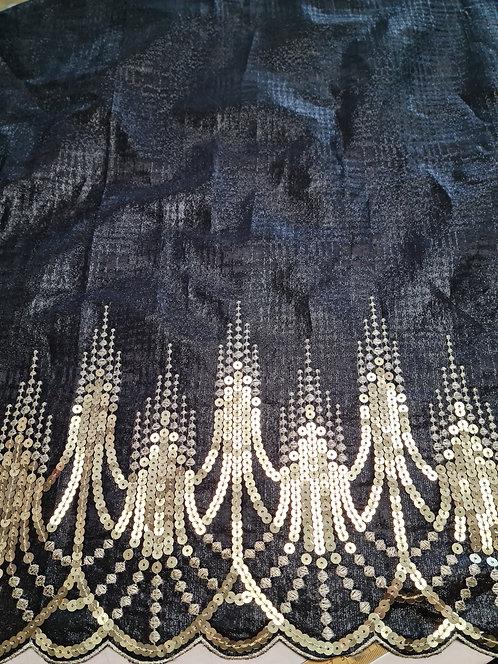 Designer Prints Sequin Embroidered Border Lurex Taffeta