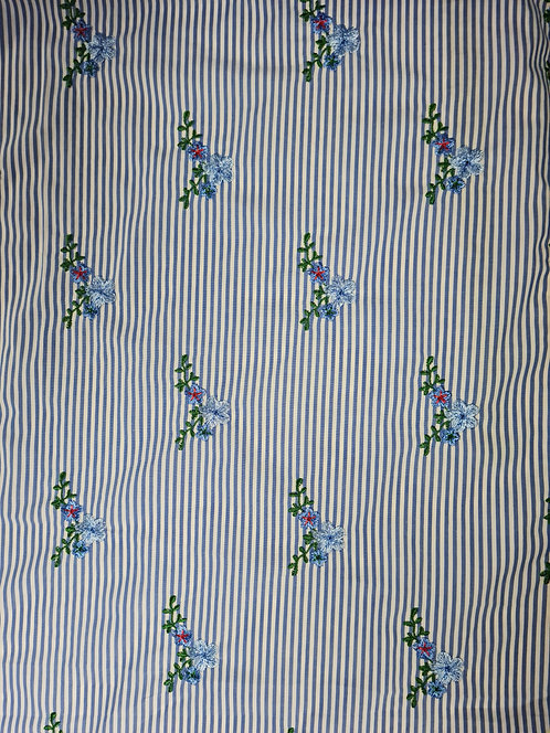 Magnolia Cotton/Polyester  Embroidered Stripe