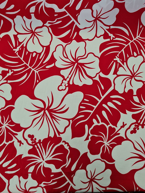 Two Tone Hibiscus Rayon Red/White