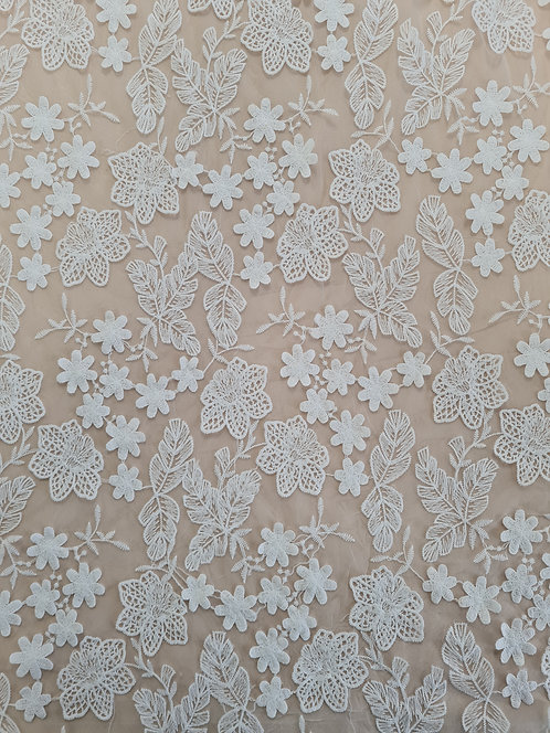 Floral 3d Embroidered Tulle Ivory