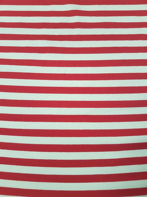 Stripe T Shirting Red/Ivory
