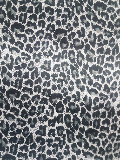Leopard Print Polyester Satin Silver