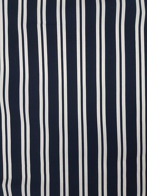 Multi Stripe Cotton Poplin Navy/White
