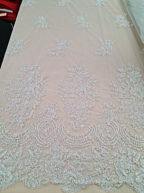 Beaded Bordered Embroidered Tulle