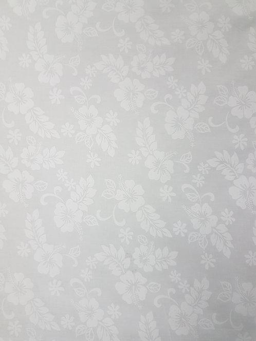 White Embossed Hibiscus Cotton Print