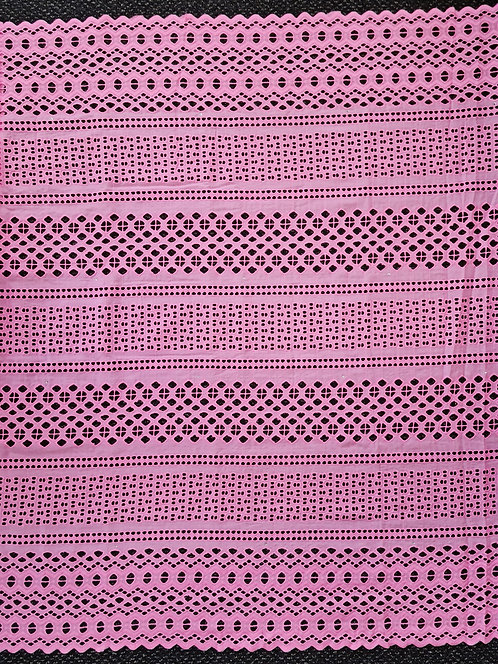 Broderie Anglaise Double Scallop Cotton Pink