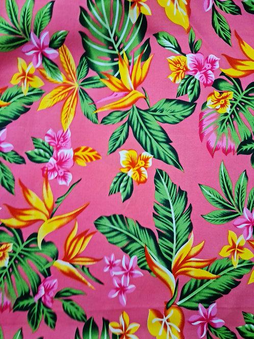 Tropicana Floral Rayon Print Coral