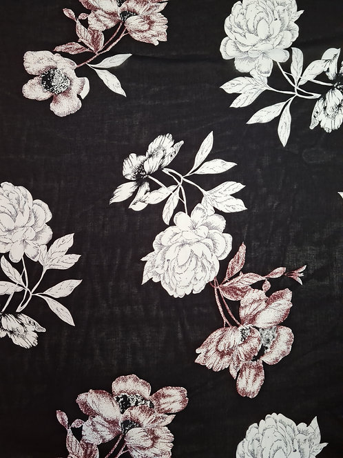 Oversized Floral Rayon Black