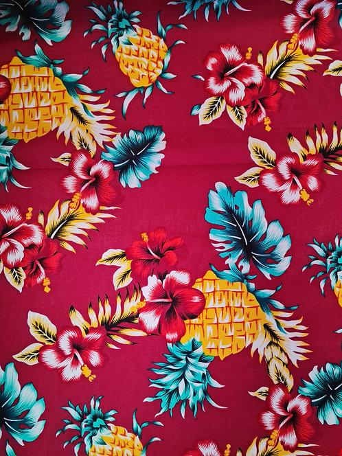 Tropic Vibes Cotton Print Burgandy