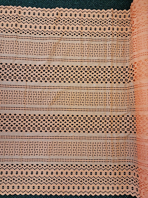 Broderie Anglaise Double Scallop Cotton Coral