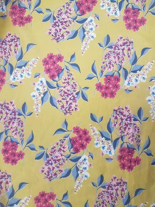 Mustard Floral Cotton Voile Print