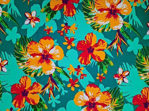 Hibiscus Floral Cotton Print Jade