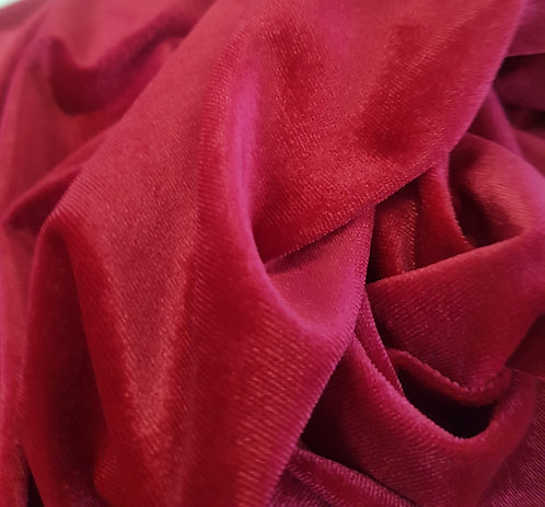 Plush Spun Stretch Velvet Cherry Red