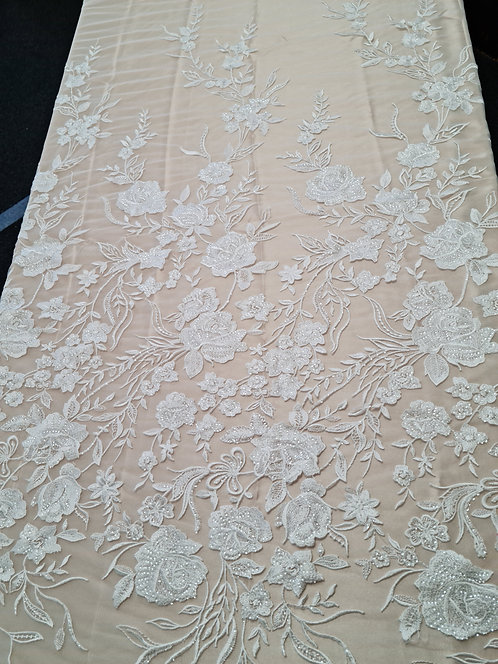 Rosa Embroidered & Sequin Tulle Ivory
