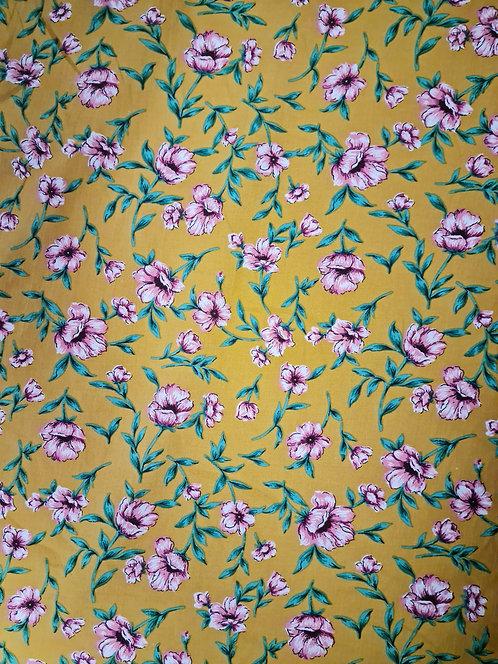 Floral Falling Cotton Poplin Mustard