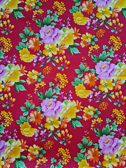 Vintage Rose Cotton Poplin Red