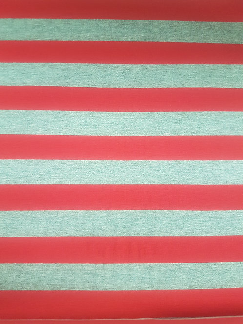 Stripe Cotton Knit  Red/Siver