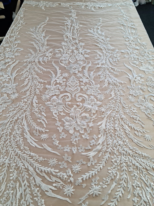Sonia Embroidered Sequin Tulle Ivory