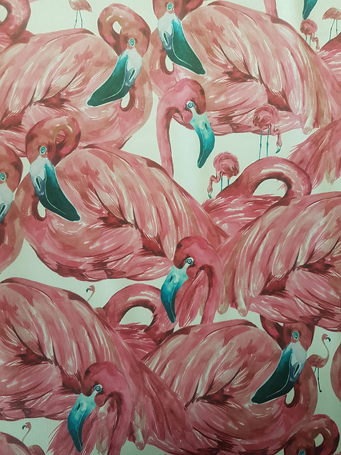 Pink Flamingo Polyester Sateen