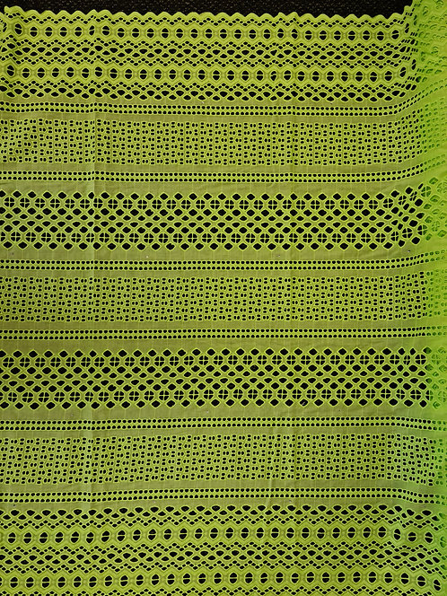 Broderie Anglaise Double Scallop Cotton Lime