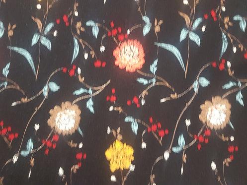 Mini Floral Rayon Black