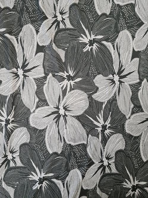 Graphic Floral Viscose Knit Asphalt