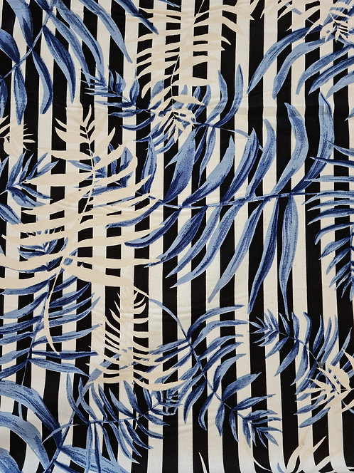 Bamboo Leaf Stripe Linen Blue