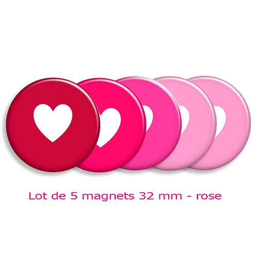 "Lot de 5 magnets ""coeurs"""